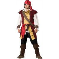 Buy cheap Sexy Costumes Wholesale Brown Gold Velvet Suede Swashbuckler Costume with S to XL from wholesalers