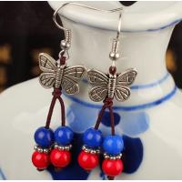Buy cheap Butterfly red coral blue jade beads pendant earrings, natural gem earrings from wholesalers