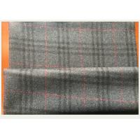 Gray Tartan Fabric 50 Wool 50 Polyester , Black And Red Plaid Fabric 750 G / M
