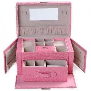Buy cheap double-layer large-capacity jewelry box jewelry storage box rose red crocodile pattern product