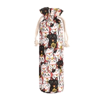 Buy cheap Drawstring Vintage Flower Printing Cotton Glass Wine Bottle Sleeve from wholesalers