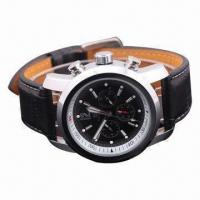 Buy cheap New Men's Black Leather Band Automatic Mechanical Watch from wholesalers