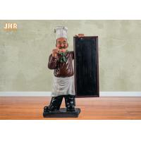 China Wooden Menu Boards Polyresin Statue Figurine Poly Resin Floor Chef Sculpture For Restaurant on sale