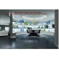 Buy cheap Glass art exhibition sales store center by white stand and wall cabinet in LED light glossy from wholesalers