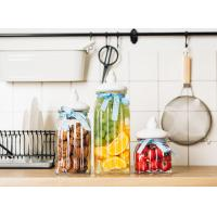 Buy cheap Durable Glass Storage Jars With Ceramic Lid Ribbon / Lead Free Glass Cereal Storage Containers from wholesalers