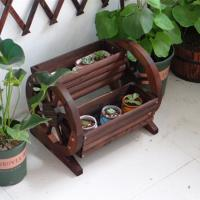 Buy cheap Outdoor garden wheel decoration wooden flower pot wooden plant buckets from wholesalers