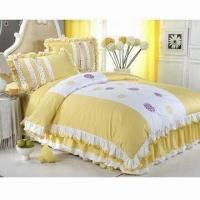 Buy cheap Yellow Bedding Set with Reactive Printing and Duvet Cover/Flat Cover/Pillowcase, Made of 100% Cotton from wholesalers