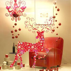China Non - Toxic Christmas Wall Art Stickers , David's Deer Christmas Window Decal on sale