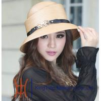 Buy cheap Khaki / Red Round Crown Polyester Ladies Hats with Leather Band from wholesalers