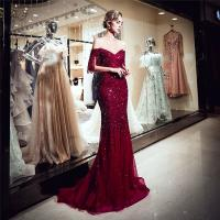 Quality Autumn Long Length Ladies Evening Dresses , Off Shoulder Ladies Evening Wear For Party for sale