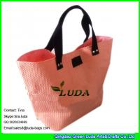 Buy cheap LUDA wholesale handbag black leather logo paper straw beach shopping bag from wholesalers