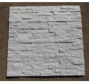 Buy cheap Natrual white quartz quartzite veneer cladding panel cultured stone stacked stone ledge stone glued wall panel flageston product