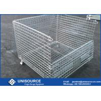 Buy cheap Stacking Metal Steel Wire Cage 800 ~ 2000kg Load Foldable With Wooden Pallet from wholesalers