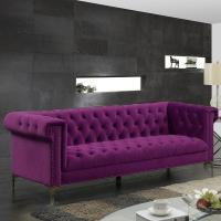 Buy cheap Event rental button chesterfield sofa metal legs sofa with velvet fabric wing nails decorated sofa from wholesalers