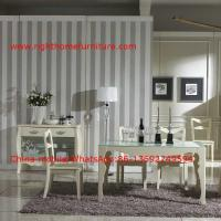 Buy cheap Ivory Neoclassical Dining Room Furniture collection by rubber wood with Glass or Marble table top from wholesalers