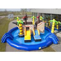 Buy cheap Blue Pool Kids Inflatable Floating Platform Slide , Pirate Theme Inflatable Water Park Equipment from wholesalers