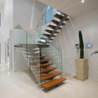 Buy cheap Stainless Steel Straight Staircase with Glass Balustrade from wholesalers