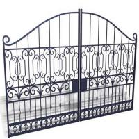 Buy cheap Sblack Primed Antique Wrought Iron Gates / Double Entry Residential Iron Gates from wholesalers