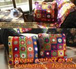 Buy cheap Handmade crocheted blanket handmade carpet yarn crochet decoration color block flower blanket from wholesalers