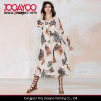 Buy cheap Long Sleeves V-neck Floral Printed Vintage Sheer Dress Women Long Dresses New Fashion from wholesalers