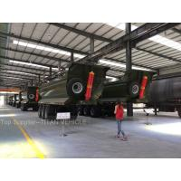 Buy cheap HYVA 196 hydraulic cylinder High strength steel dump truck trailer 100tons ,3 axle BPW axle and WABCO system from wholesalers