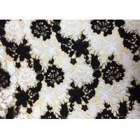 Buy cheap Polyester Embroidered Lace Fabric With Black And White Floral Pattern For Apparel from wholesalers