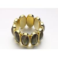 Buy cheap Gold Acrylic Women'S Fashion  Costume Jewelry Bracelets Bangle With Black Oval Opal product