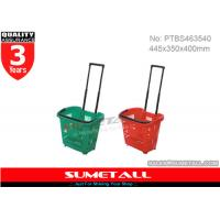 China 31L Plastic Shopping Trolley On Wheels / Shopping Basket With Aluminum Telescopic Handle on sale