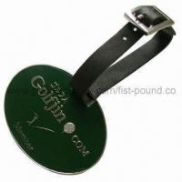 Buy cheap Golf Tag, Made of Zinc Alloy, without MOQ, Silver Finishing, with Leather String from wholesalers