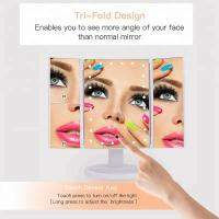 Buy cheap Lighted Makeup Mirror, Touch Screen LED Table Makeup Mirror -Three Panel Led Light Tabletop Cosmetic Mirror from wholesalers
