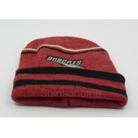 Buy cheap Custom Red Black Cotton Beanie Hats Knitting , Winter Caps For Men / Women from wholesalers