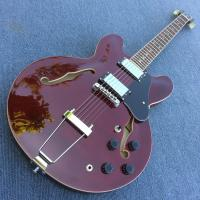 Buy cheap New style high-quality hollow body jazz electric guitar, Double F holes wine Red body and back electric guitar from wholesalers