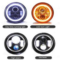 Buy cheap 7 inch Round Jeep Wrangler LED Headlights With Halo Ring Angel Eyes 70Watt , with 3700 Lumens headlight for Jeep from wholesalers