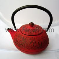 Buy cheap 450ml cast iron teapot with maple leaf pattern design from wholesalers