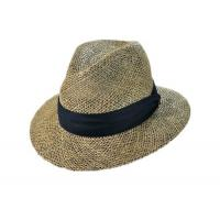 Buy cheap Natural mens straw fedora seagrass hat from wholesalers