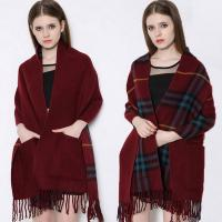 Buy cheap Fashion Shawl Tassels red tartan plaid scarf knitting pattern pocket scarf from wholesalers