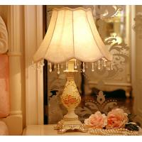 Buy cheap Resin base fabric lampshade soft light elegance crystal lace Bedside table lamp LX106 from wholesalers