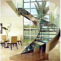 Buy cheap Customized tempered glass panel treads glass curved stairs price from wholesalers