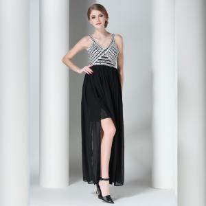 China Claire 2016 Mini Black Striped Sleeveless Top Sexy Backless Women Maxi Dress Elegant Rope Bandage Long Dress Vestidos on sale