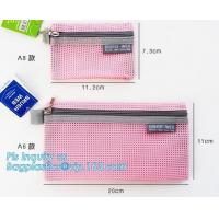 Buy cheap promotional zipper bag mesh file bags organizer, eco-friendly PVC A4 mesh material case file document bag, Nylon mesh do from wholesalers