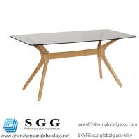 Buy cheap Excellence quality dining table portofino oak tinted glass top from wholesalers