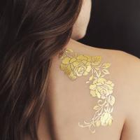 Buy cheap Gold Rose Metallic Temporary Tattoo , Customized Beautiful Flower Tattoos from wholesalers