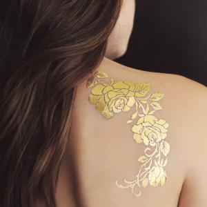 Buy cheap Gold Rose Metallic Temporary Tattoo , Customized Beautiful Flower Tattoos product