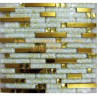 Buy cheap GM126 Glass edge strip mix stainless steel metal mosaic wall tiles from wholesalers