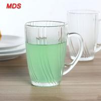 Buy cheap Transparent phoenix tail design high white glass beer glass with handle from wholesalers