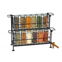 Buy cheap SGS/FDA   12 pieces small glass  spice jars  with lids on rack 2 tier , 90ml for spicy product