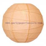 Buy cheap Cantaloupe - orange Round 8 Inch Ribbed Paper Wedding Ceremony Lanterns from wholesalers