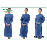 Buy cheap Nonwoven SMS Blue disposable hospital scrubs with Elastic and Knit cuff from wholesalers