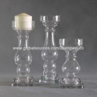Buy cheap Clear Glass Candle Holders with Square Base and Candle Stand from wholesalers