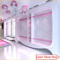 Buy cheap Modern fashion pink white wall mounted clothing display cabinet with S/S rack from wholesalers